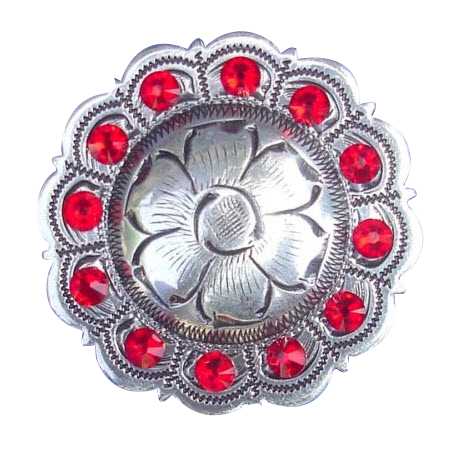 Red stones medallion fitness button